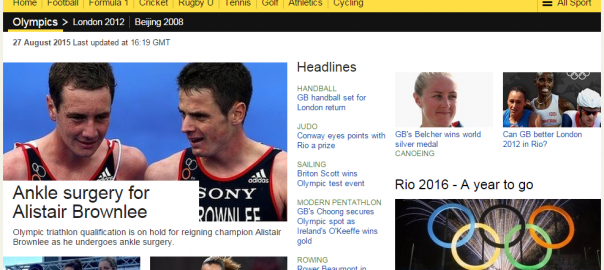 The BBC Olympics section powered by the semantic technology via GrahDB